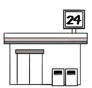 24時間営業のコンビニのイラスト画像