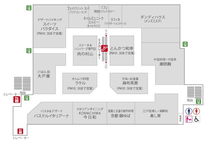 肉の村山 肉の日 店の位置を確認できる錦糸町丸井店7階のフロアマップ