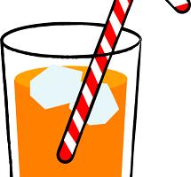 コップに入ったオレンジジュースの画像