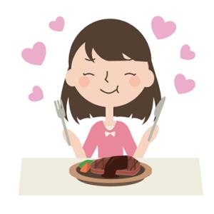 ステーキを美味しそうに食べるコスパ主婦の画像