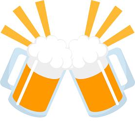 ビールで乾杯している画像