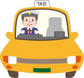 呼んだタクシーが迎えにきている画像