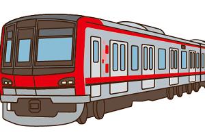 電車が走行している画像