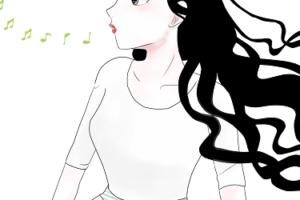 口笛を吹いている女性の画像
