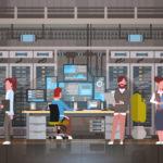 マイニング工場で仮想通貨を生成しているイメージ