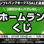 ズバトクで開催中の福岡ソフトバンクホークスSALE連動企画 ホームランくじのキャンペーン画像
