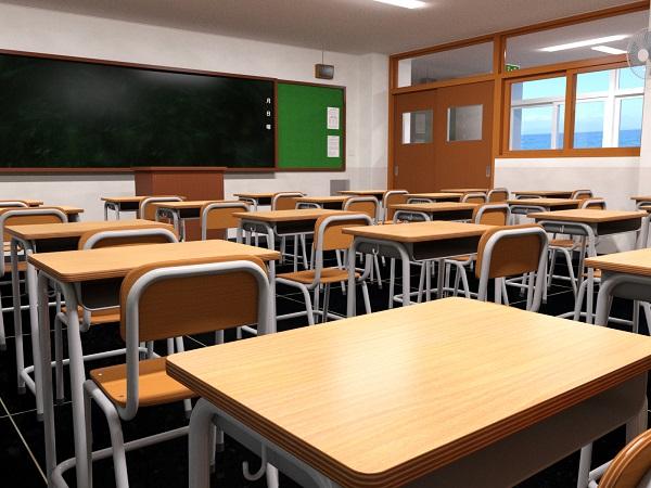 高校の教室のイラスト画像